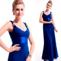 Vestido Azul De Chiffon De Seda Longo