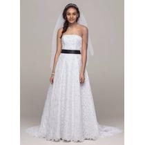 Vestido Noiva Renda Guipir Faixa Cintura Estilo Vera Wang