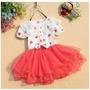 Vestido Infantil De Poa E Tule Com Renda Na Gola