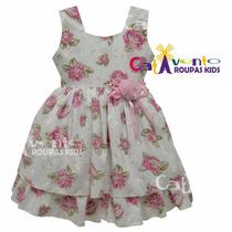 Vestido Festa Infantil Floral 04 Ao 12 Com Tiara De Brinde