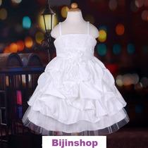 Vestido Infantil Festa Branco Ou Lilás Com Pérolas