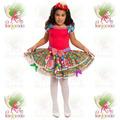 Vestido Junino Caipira Infantil Festa Junina Boneca Vermelho