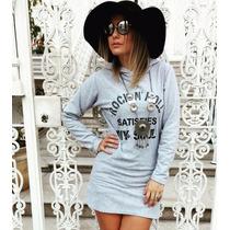 Vestido Curto De Moletom Silkado Com Capuz Moda Blogueira!