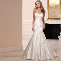 Vestido De Noiva Cetim Longo Até O Chão Espartilho Kl26