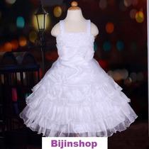 Vestido Infantil Azul Pink Ou Branco - Flores Saia Camadas