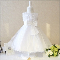 Vestido Infantil Noivinha Daminha De Honra Casamento Branco