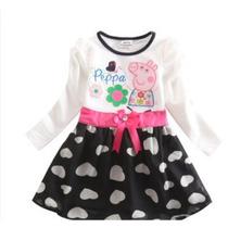 Vestido De Festa Peppa Pig - Cores Fucsia E Preto - Infantil