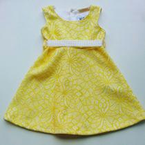 Vestido Infantil Arte Menor Rendado Amarelo Lindo!