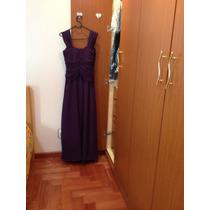 Vestido De Festa Purpura Longo. Acompanha Echarpe E Broche.