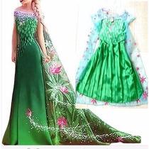 Vestido Fantasia Luxo Frozen 2 Elza Princesa Pronta Entrega