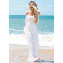 Vestido Longo Ombros De Fora Branco Fim De Ano Praia