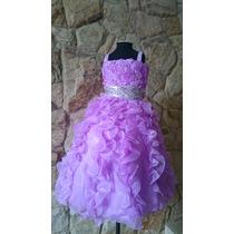 Vestido Infantil/festa/daminha/florista Lilás Com Paetês