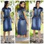Vestido Jeans Midi Com Detalhe Em Couro