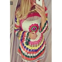 Blusa Feminina Croche Colorida Pronta Entrega Super Fashion