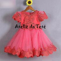 Vestido De Festa Super Luxuoso Vermelho Melancia 3-10anos