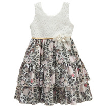 Vestido Festa Infantil Rosa Branco Amarelo De Luxo Tamanho04