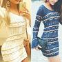 Vestido Feminino Curto Manga Longa Flare Tricot Croche Renda