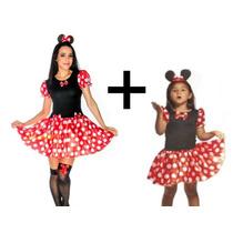 Vestido Minnie Adulto E Infantil Fantasia Tal Mãe Tal Filha