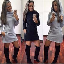 Vestido Curto De Moleton Casual Esportivo Gola Alta Capuz!