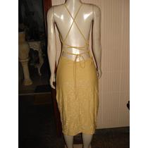 Vestido De Festa Em Lurex Dourado/forrado Tam M