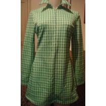 Vestido Curto,xadres Verde, Manga Longa, Tam P- Tritton