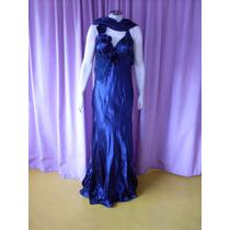Vestido Fino Para Festas De Gala, Em Material Sintético Azul