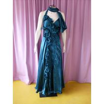 Vestido Fino Para Festas De Gala, Em Material Sintético Verd