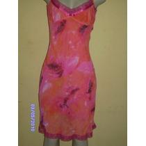 Vn039 - Vestido Estampado Alça Fina Com Renda No Decote