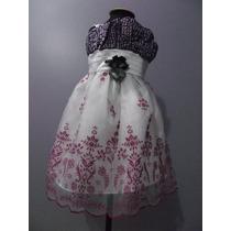 Vestido Infantil Festa/florista Lilás E Branco Tam 1 E 3