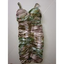 Lindo Vestido Tubinho, Elegante, Tam P, Verde E Nude