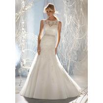 Vestido Noiva Importado Sob Encomenda - Evasê Com Pedrarias