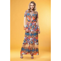 Vestido Joyaly Longo Floral C/ Tule (42 Ao 46) - Pura Flor