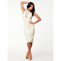 Vestido Eg- Modelo Importado Elegante Fino Renda Branca Midi