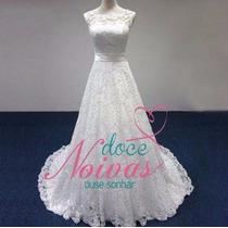 Vestido De Noiva Renda Elegante Cauda Pronta Entrega