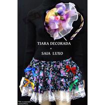 Saia Caipira Festa Junina + Tiara Luxo Decorada Tema Junino