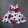 Vestido Aniversário Infantil Florido Rosas Vermelhas Festa