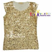 Blusa Infantil Dourada Com Paetês Infantii Tamanhos 06 Ao 14