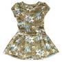 Vestido Infantil Floral Em Malha Neoprene Com Estampa Onaebo