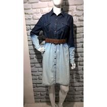 Vestido Camisão Feminino Jeans Manga Longa