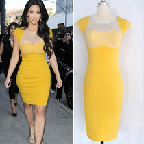 Vestido Amarelo Kim Kardashian Celebridade Tela Pronta Entr.