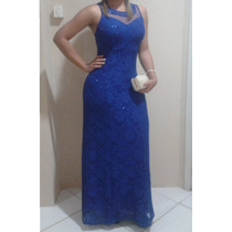 Vestido Festa Longo Azul Royal Renda Madrinha/casamento