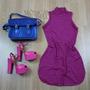 Vestido Casual Listrado Pink/marinho Básico Balada Curto