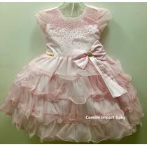 Vestido Infantil Festa Minnie Rosa Cinderela Peppa Com Tiara