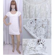 Vestido Em Renda Branca Com Barra Arrematada Com Viscolycra
