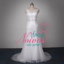 Vestido Noiva G Longo Elegante Civil Sereia Pronta Entrega