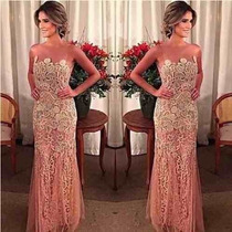 Vestido Festa Longo Rosa Casamento Tule Barato Renda Noite