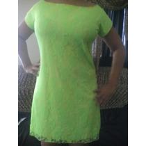 Vestido De Renda Verde Forrado Pmg E Gg