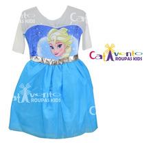 Fantasia Vestido Frozen Elsa Luxo 04 Ao 12