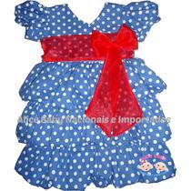 Vestido Festa Galinha Pintadinha Babados Balonê 1 A 6 Anos