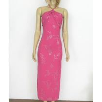 Vestido Rosa Pink Com Bordado Prata - 34